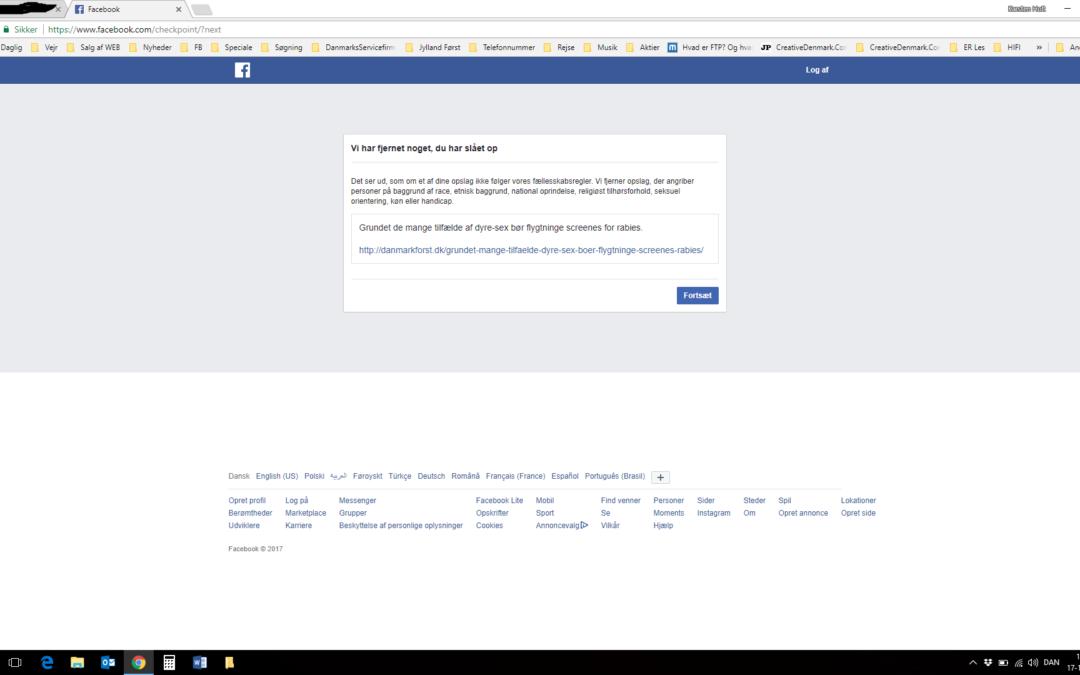 Facebook ulovliggør advarsler mod flygtninges og immigranters dyresex